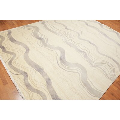 Manjunath One-of-a-Kind Modern Oriental Hand-Knotted Wool Beige Area Rug