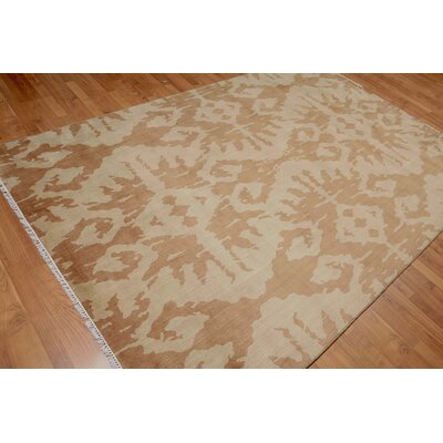 Pumphrey One-of-a-Kind Contemporary Oriental Hand-Knotted Wool Light Gold Area Rug