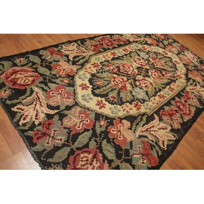 Lizeth One-of-a-Kind Kilim Traditional Oriental Hand-Woven Wool Charcoal Area Rug