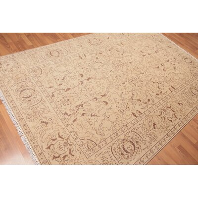 Heathrow One-of-a-Kind Traditional Oriental Hand-Knotted Wool Tan Area Rug
