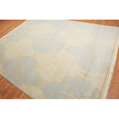 Queener One-of-a-Kind Transitional Oriental Hand-Knotted Wool Mint Green Area Rug