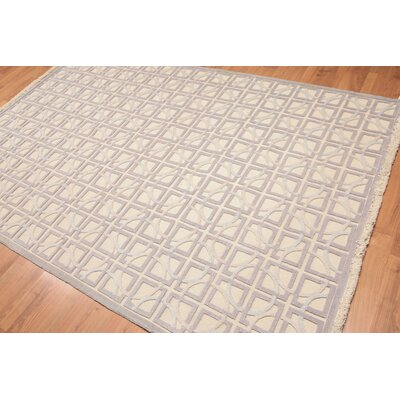 Haddaway One-of-a-Kind Modern Oriental Hand-Knotted Wool Beige Area Rug