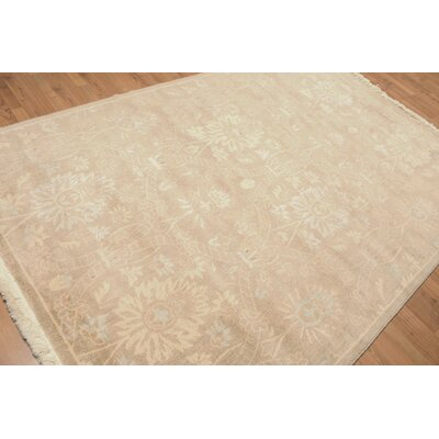 Hellam One-of-a-Kind Traditional Oriental Hand-Knotted Wool Tan Area Rug