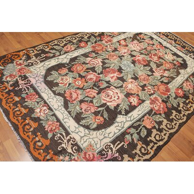 Luciani One-of-a-Kind Kilim Traditional Oriental Hand-Woven Wool Brown Area Rug