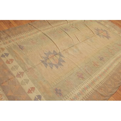 Rackers One-of-a-Kind Kilim Traditional Oriental Hand-Woven Wool Olive Green Area Rug