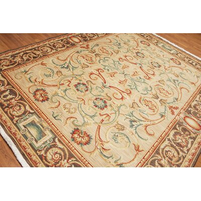 Gryselda One-of-a-Kind Arts Traditional Oriental Hand-Knotted Wool Beige Area Rug