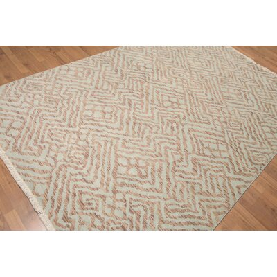 Raasch One-of-a-Kind Contemporary Oriental Hand-Knotted Wool Aqua Area Rug
