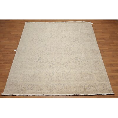 Hetton One-of-a-Kind Traditional Oriental Hand-Knotted Wool Beige Area Rug