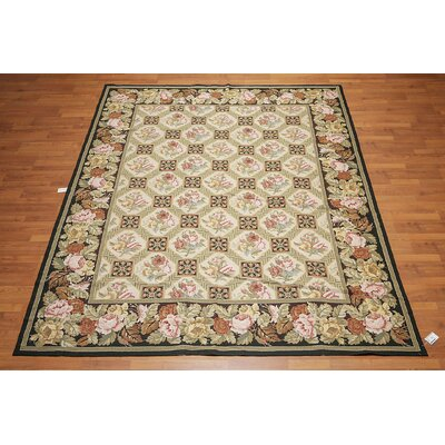 Gunilla One-of-a-Kind Needlepoint Aubusson Traditional Oriental Hand-Woven Wool Beige Area Rug