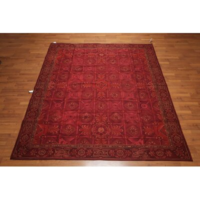 Quesinberry One-of-a-Kind Needlepoint Aubusson Traditional Oriental Hand-Woven Wool Burgundy Area Rug