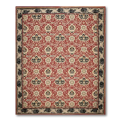 Gunnel One-of-a-Kind Needlepoint Aubusson Traditional Oriental Hand-Woven Wool Burgundy Area Rug