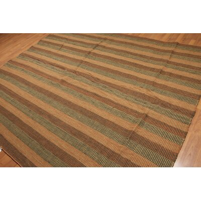 Kruse One-of-a-Kind Flat Pile Traditional Oriental Hand-Woven Wool Brown Area Rug