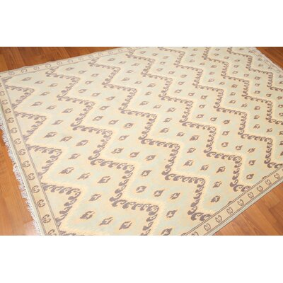 Hobson One-of-a-Kind Transitional Oriental Hand-Knotted Wool Aqua Area Rug
