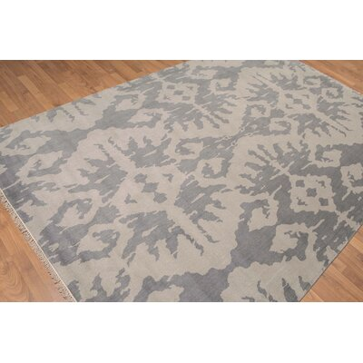Rabago One-of-a-Kind Contemporary Oriental Hand-Knotted Wool Gray Area Rug