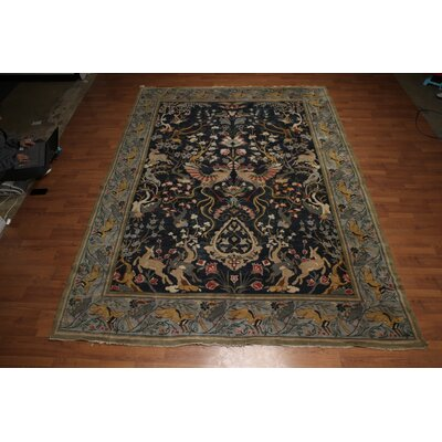 Guilaine One-of-a-Kind Antique Traditional Oriental Hand-Knotted Wool Midnight Blue Area Rug