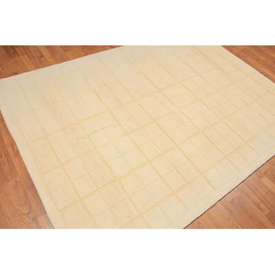 Manohar One-of-a-Kind Modern Oriental Hand-Tufted Wool Vanilla Area Rug