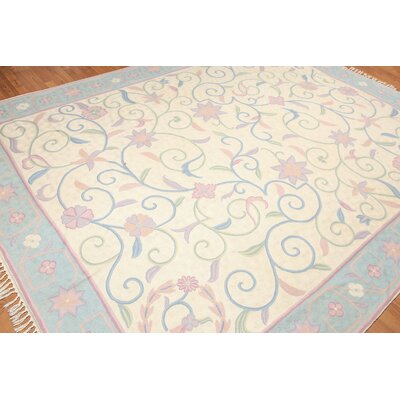 Harriette One-of-a-Kind Chainstitch Transitional Oriental Hand-Woven Wool Ivory Area Rug
