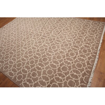 Hibbert One-of-a-Kind Contemporary Oriental Hand-Knotted Wool Taupe Area Rug