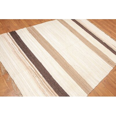 Waverly Place One-of-a-Kind Dhurry Reversible Modern Oriental Hand-Woven Cotton Ivory Area Rug