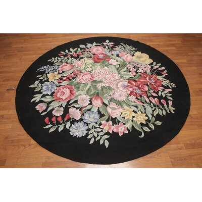 Harte One-of-a-Kind Traditional Oriental Hand-Knotted Wool Black Area Rug