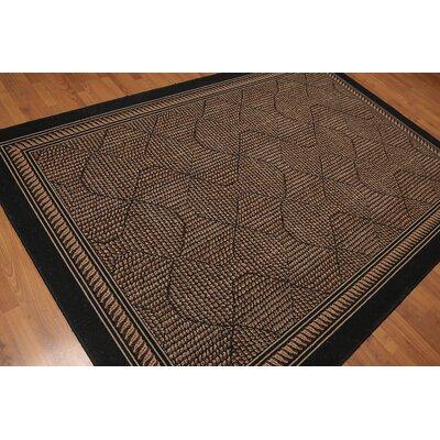 Keyes Modern Oriental Wool Black Area Rug