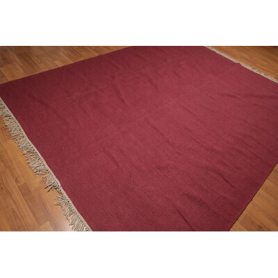 Quinney One-of-a-Kind Reversible Contemporary Oriental Hand-Woven Wool Burgundy Area Rug