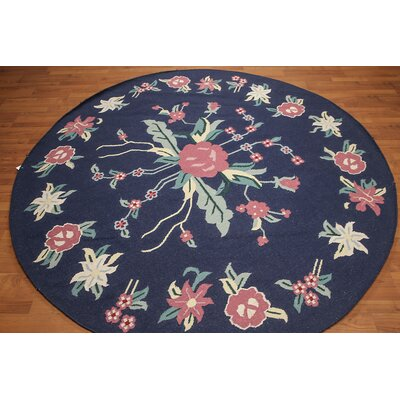 Hedvige One-of-a-Kind Dhurry Kilim Reversible Transitional Oriental Hand-Woven Wool Navy Area Rug