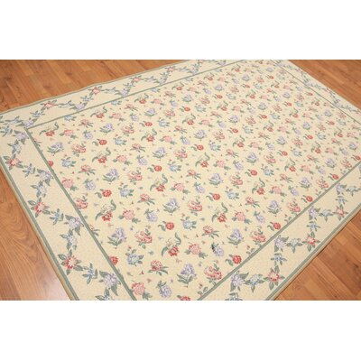 Kher Needlepoint Traditional Oriental Wool Warm Beige Area Rug