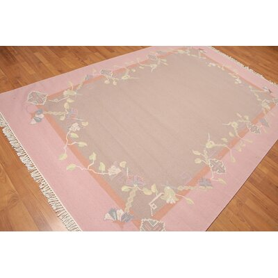 Kimble One-of-a-Kind Reversible Modern Oriental Hand-Woven Wool Taupe Area Rug