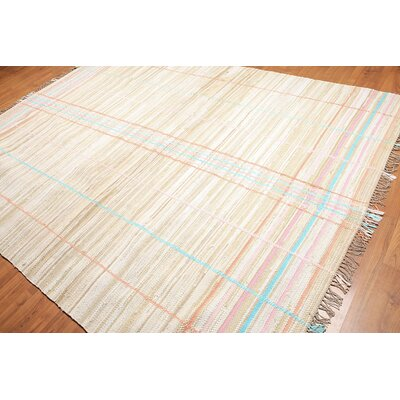 Doobay One-of-a-Kind Modern Oriental Hand-Woven Cotton Beige Area Rug