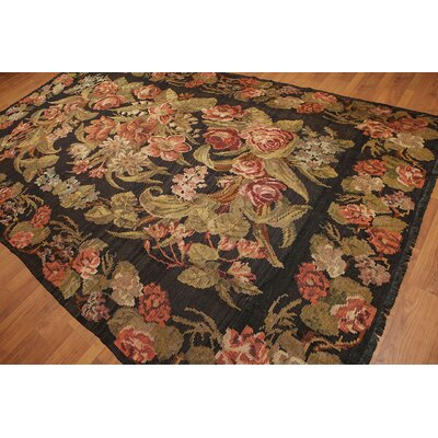 Gudruna One-of-a-Kind Kilim Traditional Oriental Hand-Woven Wool Charcoal Area Rug