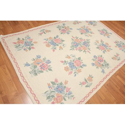 Kipperman One-of-a-Kind Chain Traditional Oriental Hand-Woven Wool Ivory Area Rug