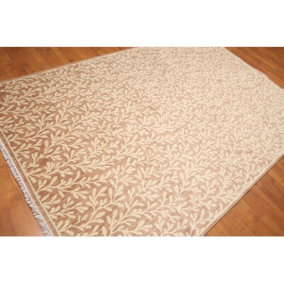 Rabideau One-of-a-Kind Transitional Oriental Hand-Knotted Wool Taupe Area Rug