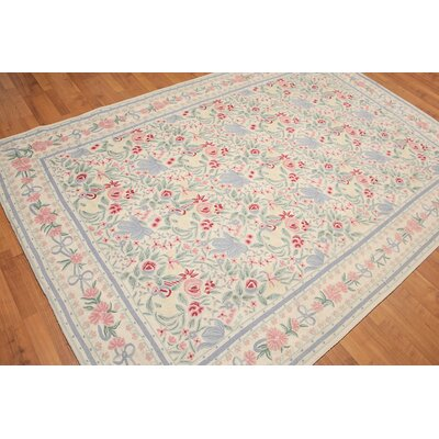 Kippins One-of-a-Kind Chain Traditional Oriental Hand-Woven Wool Ivory Area Rug