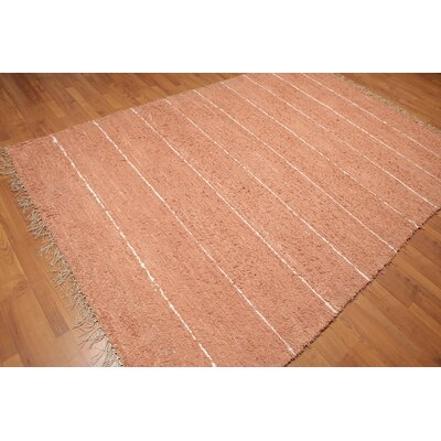 Lisle One-of-a-Kind Modern Oriental Hand-Knotted Cotton Coral Area Rug