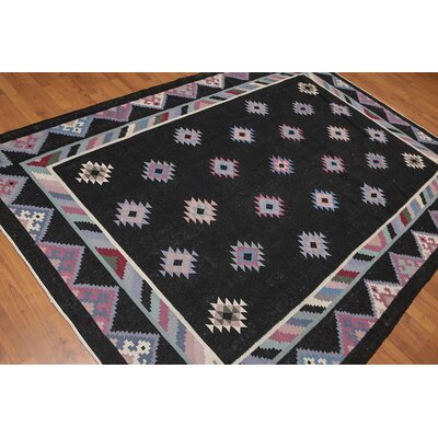 Waxman One-of-a-Kind Modern Oriental Hand-Knotted Wool Black Area Rug