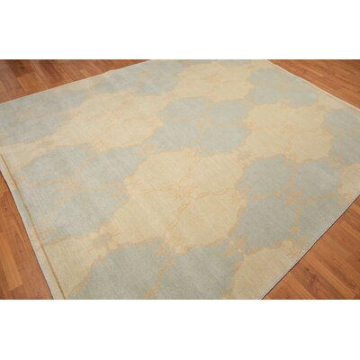 Quinonez One-of-a-Kind Modern Oriental Hand-Knotted Wool Aqua Area Rug