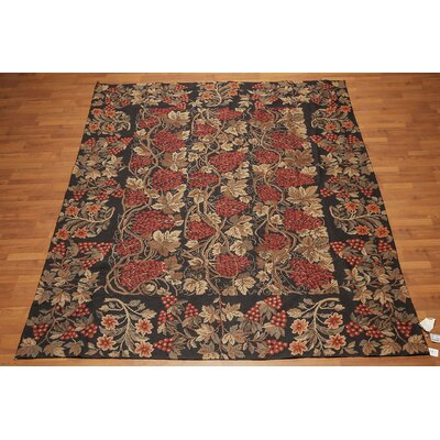 Hettie One-of-a-Kind Needlepoint Traditional Oriental Hand-Woven Wool Black Area Rug