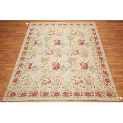 Hewett One-of-a-Kind Needlepoint Traditional Oriental Hand-Woven Wool Beige Area Rug