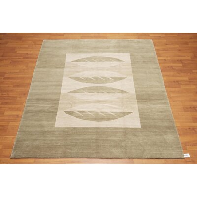 Glasmann One-of-a-Kind Modern Oriental Hand-Knotted Wool Moss Area Rug