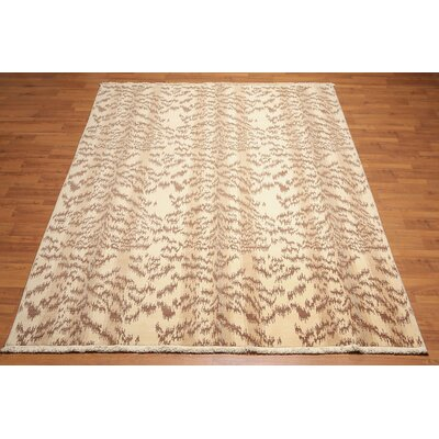 Quintal One-of-a-Kind Modern Oriental Hand-Knotted Wool Beige Area Rug