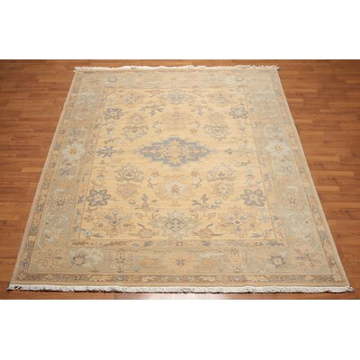 Highbury One-of-a-Kind Traditional Oriental Hand-Knotted Wool Warm Beige Area Rug