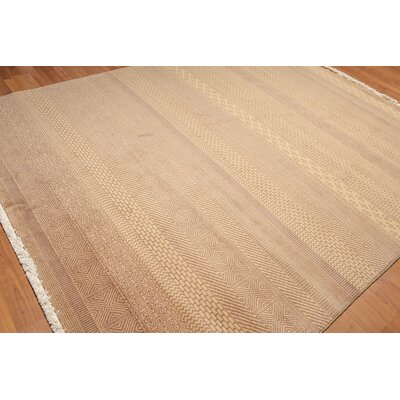 Highclere One-of-a-Kind Contemporary Oriental Hand-Knotted Wool Tan Area Rug