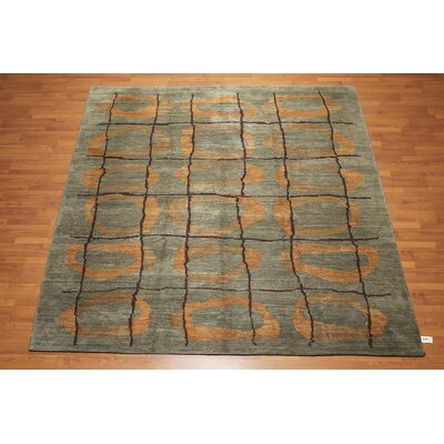 Horing One-of-a-Kind Modern Oriental Hand-Knotted Wool Moss Area Rug
