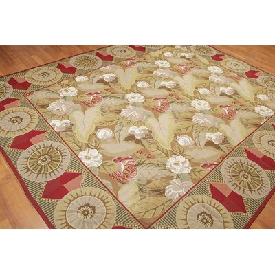 Hickenbottom One-of-a-Kind Needlepoint Traditional Oriental Hand-Woven Wool Taupe Area Rug