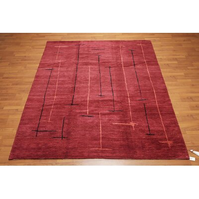 Quintanilla One-of-a-Kind Modern Oriental Hand-Knotted Wool Burgundy Area Rug