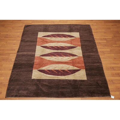 Lundskog One-of-a-Kind Modern Oriental Hand-Knotted Wool Chocolate Brown Area Rug