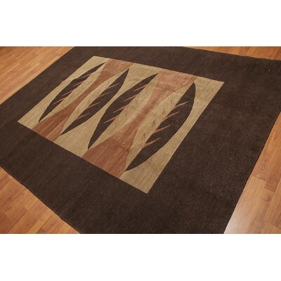Mast One-of-a-Kind Modern Oriental Hand-Knotted Wool Chocolate Brown Area Rug