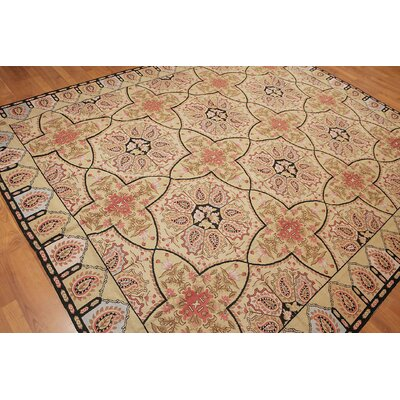Quintanar One-of-a-Kind Needlepoint Traditional Oriental Hand-Woven Wool Light Gold Area Rug