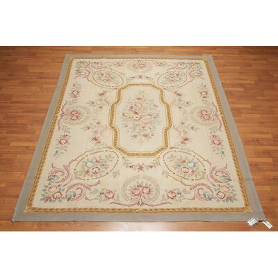 Henriette One-of-a-Kind Aubusson Traditional Oriental Hand-Woven Wool Beige Area Rug